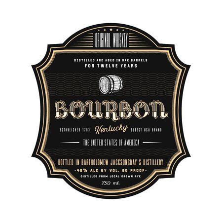 Vintage frame whiskey label design, vector beverage bourbon  label.