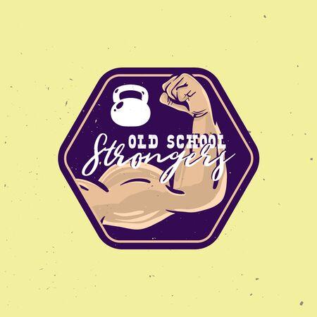 Emblem of vintage gym, fitness strong club. Graphic design for t-shirt prints