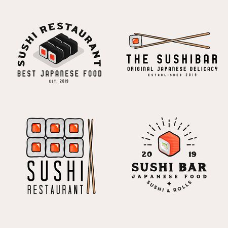 Japanese food icons,   badges for business. Zdjęcie Seryjne - 149242315