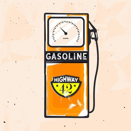 Retro old-fashioned illustration of gasoline station in vintage style. Retro fuel station wallpaper