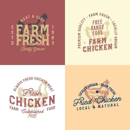 Vintage rustic chicken emblems. Collection of vintage retro farm labels and design elements.