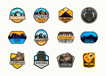 Mountain   stickers, badges. Outdoor themed labels