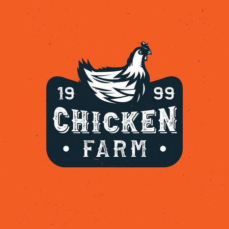 quality rooster  badge, emblem. Farm stamp of quality product