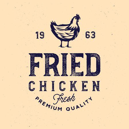 Vintage rustic chicken emblem. Vintage chicken meat label