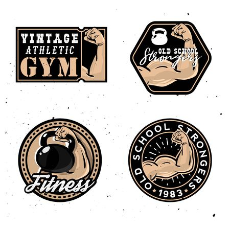 Vintage gym logotypes, old school strongers signs Ilustracja