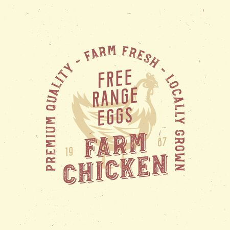 farm vintage  with chicken. only organic food, chicken meat retro badge. Illustration