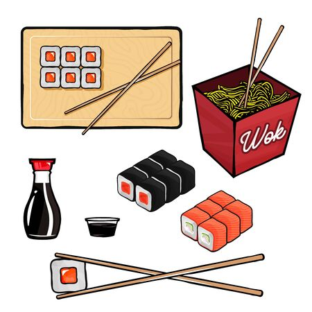 Sushi and rolls related items and objects. Wok, sushi, rolls, soy sauce, chopsticks Ilustracja
