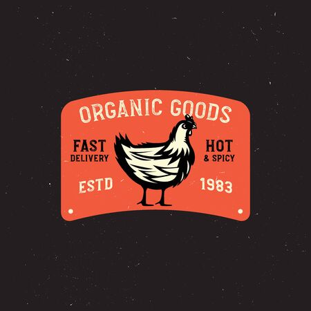 farm vintage  with chicken. only organic food, chicken meat retro badge. Zdjęcie Seryjne - 149242345