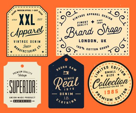 Collection of clothing tags, labels, badges, design elements. Denim typography labels, vector illustration. Vintage apparel labels design Ilustracja