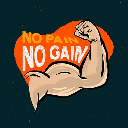 Fitness poster with muscle arm and inpirational quote no pain no gain Ilustracja