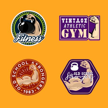 Vintage colored gym themed retro badges with muscle human arm