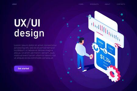 mobile app development, ux ui design illsutrtaion concept. both mobile app developer and ui designer creating the user interface.