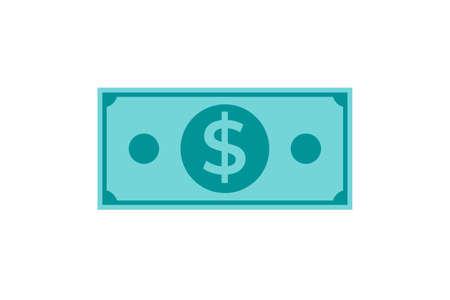 dollar cash icon. simple dollar money icon in greenish blue color. Illustration