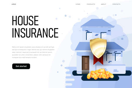 House insurance illustration concept with protection shield and 3d coins. Insurance illustration on landing page template Zdjęcie Seryjne - 150879830