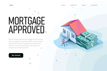Mortgage approved isometric illustration with house and bunch of money
