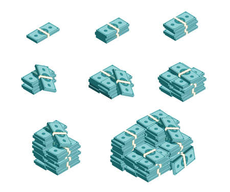 Set of money piles, dollar cash. Gradation of money bundles, perfect for apps and games. Game money collection.