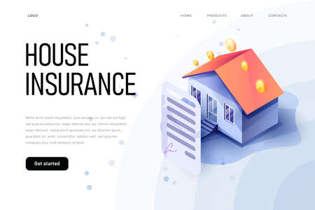 Isometric property insurance concept of illustration. Home insurance isometric. House and insurance document.