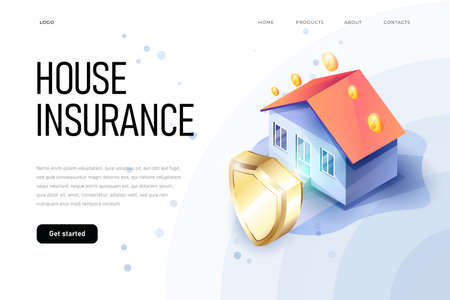 Isometric property insurance concept of illustration. Home protection shield symbolize the house safety. Home insurance isometric. House and insurance document.