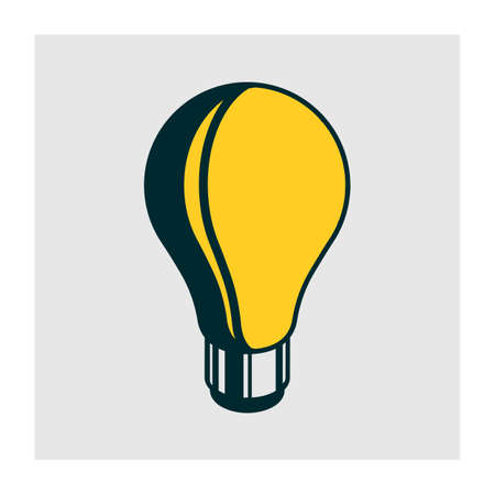 isometric lamp with outline stroke and shadow Ilustracja