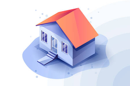 3d isometric house in blue color scheme. Blue tones in house. Red roof of the house. Ilustracja
