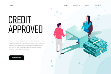 Credit approved isometric illustration concept. landing page template.