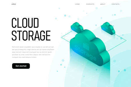 IT sphere related isometric illustration with 3d cloud. Cloud storage landing page template with isometric cloud, hi tech technology Illustration