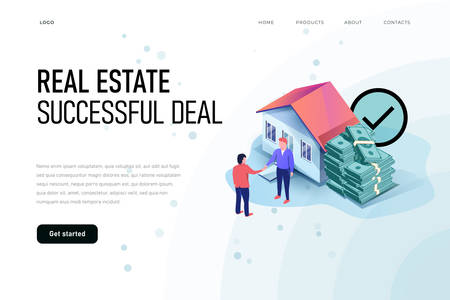Real estate successful deal isometric illustration concept. Landing page template.