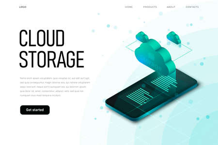 IT sphere related isometric illustration with 3d cloud. Cloud storage landing page template with isometric cloud, hi tech technology Zdjęcie Seryjne - 150919413