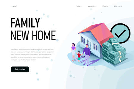 Happy family is around their new home. Family new home illustration concept. Ilustracja