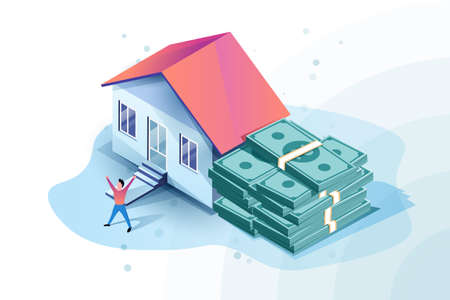 Mortgage approved isometric illustration with house and bunch of money. Happy man got mortgage.
