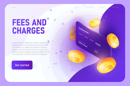 fees and charges illustration concept, landing page template. Banking card with 3d model of coins