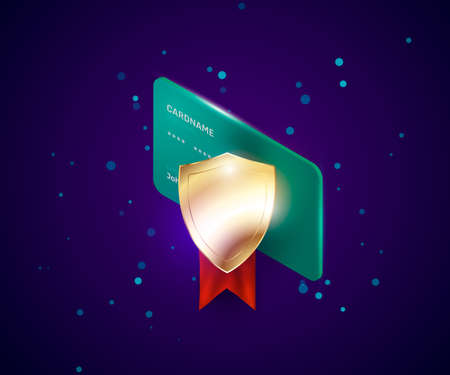 credit card security illustration with golden protection shield. Digital security system of online payments, safety protocol Zdjęcie Seryjne