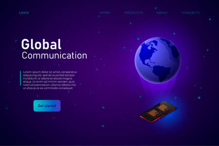 Global Communication header landing web page template. Isometric Phone and 3d earth above from this Zdjęcie Seryjne - 151324788