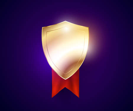 golden colored safeguard shield with reflections and glow effects and red ribbon.