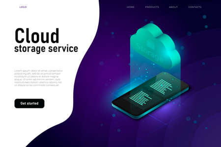 Cloud access to data, cloud storage system, isometric illustration concept with isometric cloud and 3d realistic smartphone. Stock Photo