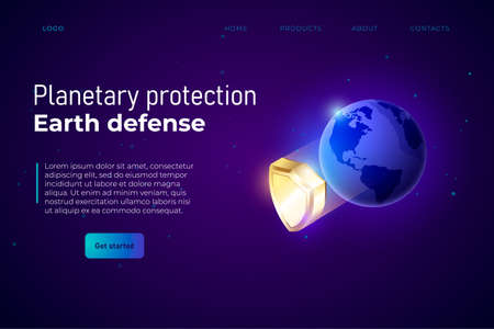Planetary protection illustration, webpage template header. Protection from asteroids and meteorites. Vector