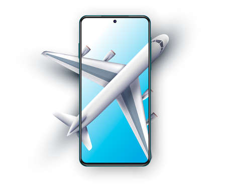 Concept of poster of booking online tickets, airlines. Start screen of booking tickets online application. Realistic 3d plane. Ticket ordering concept.