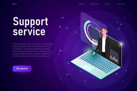 3d laptop with support staff. Support service illustration