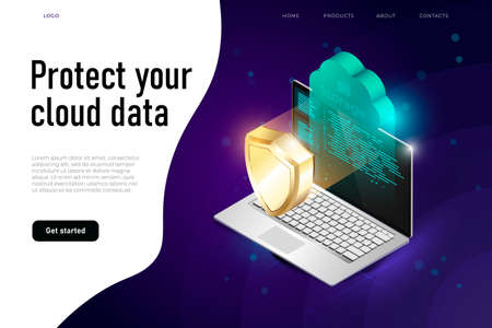 cloud data protection illustration, protect your cloud data text. Concept of cloud computing and protecting data.