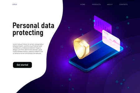 personal data security isometric illustration, data protecting witn 3d isometric smartphone and security shield.