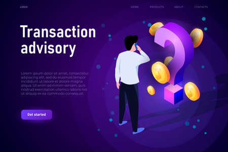 Transaction advisory illustration concept. Isometric financial illsutration with 3d coins and isometric question mark. Financial advisor. Stock Photo