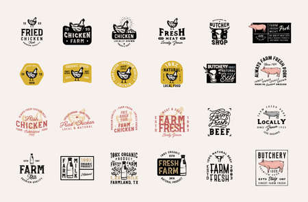 Master collection of 24 vintage farm fresh products badges, logos, signs, symbols, emblems, labels with pork, beef, rooster, milk and other design elements Zdjęcie Seryjne - 151349327