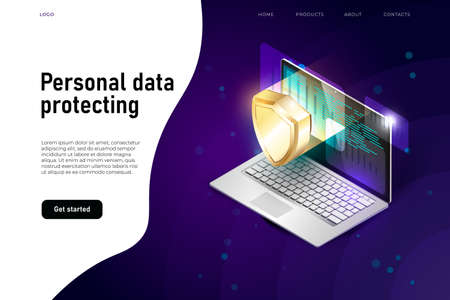personal data security isometric illustration, data protecting witn 3d laptop and security shield.