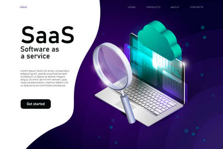 software as a service isometric illustration with 3d realistic laptop, saas cloud and magnifier. software cloud system