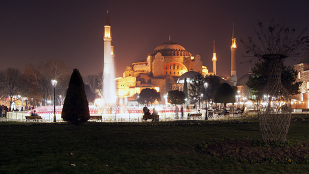 Hagia Sophia view from sultanahmet area by night photo