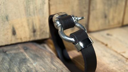 collet: black leather  men bracelet ,wristband over board