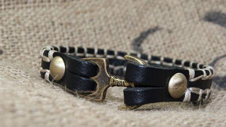collet: black leather  anchor figure men bracelet ,wristband