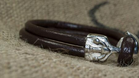 wristband: brown leather men bracelet ,wristband Stock Photo