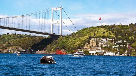 mehmet: Fatih Sultan Mehmet Bridge in Istanbul, Turkey Stock Photo