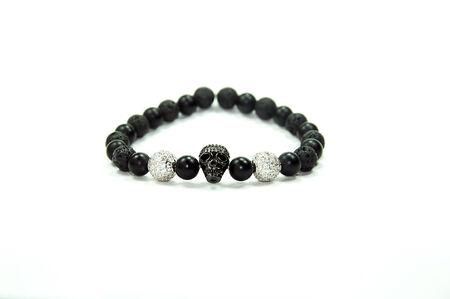wrist strap: Gemstone Skull Bracelet Stock Photo